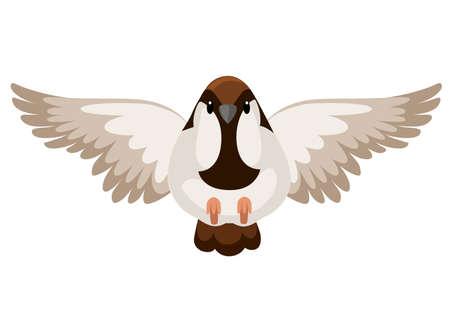 Vue de face de l'oiseau moineau volant. Conception de personnage de dessin animé plat.