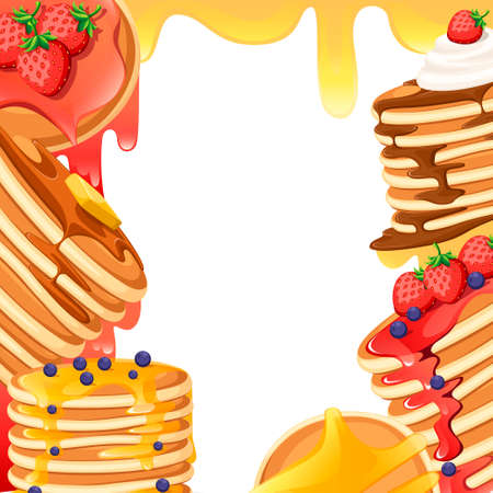Pattern with different toppings. Illustration with empty space in center. Baking with syrup or honey. Breakfast concept. Flat vector illustration on white background. Illustration