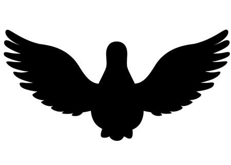 Black silhouette. Pigeon bird flying, pigeon flaps its wings, front view.