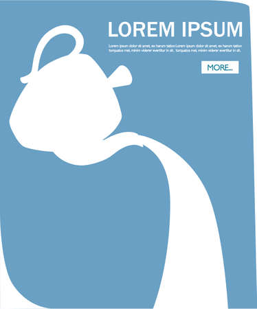 White teapot silhouette pouring tea. Flat vector illustration. Concept of tea party web site design. Mobile app with button and place for text.