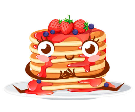 Cartoon character design. Stack of pancakes with strawberry syrup and strawberries with currants. Flat vector illustration isolated on white background. Pancakes on white plate, mascot. Vector Illustratie