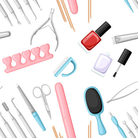 Seamless pattern. Manicure tools vector set. Colorful icon collection. Tools for beauty salon or for cosmetics bag, Flat vector illustration on white background.