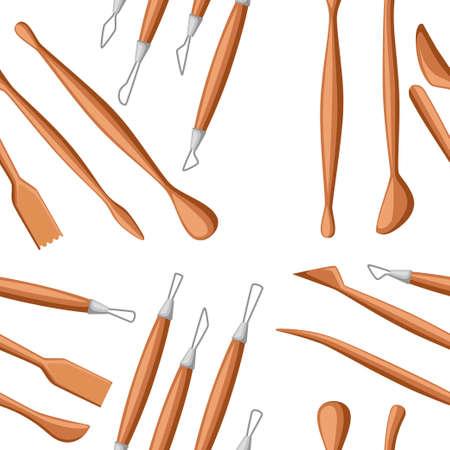 Modèle sans couture. Collection d'outils de sculpture. Ensemble d'instruments à modeler en argile. Matière bois et métal. Illustration vectorielle plane sur fond blanc.
