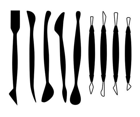 Black silhouette. Collection of sculpting tools. Set of clay modeling instrument. Wood and metal material. Ilustração