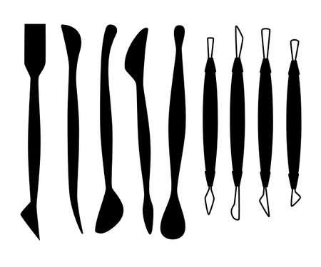 Silhouette noire. Collection d'outils de sculpture. Ensemble d'instruments à modeler en argile. Matière bois et métal. Vecteurs