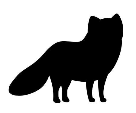 Black silhouette. Cute Arctic Fox. Cartoon animal flat design. Vector illustration isolated on white background. Polar white fox.