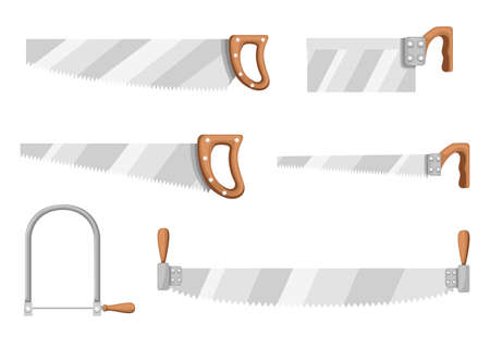 Handsaw collection. Saw with wooden handle. Crosscut hand saw with long steel blade. Tool for cutting wood. Flat vector illustration isolated on white background. Illustration