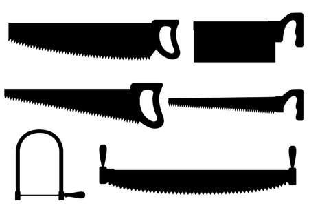 Silueta negra. Colección de serruchos. Sierra con mango de madera. Sierra de mano de corte transversal con hoja de acero larga. Herramienta para cortar madera. Ilustración de vector plano aislado sobre fondo blanco.