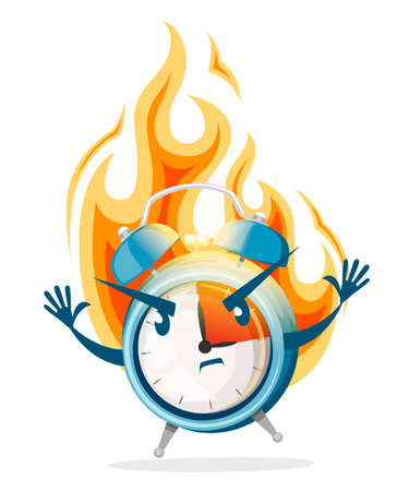 Blue alarm clock in a fire. Burning clock. Deadline concept. Cartoon character design. Flat vector illustration isolated on white background. Illustration