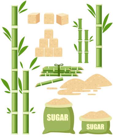 Cultures agricoles de plantes à sucre. Canne à sucre avec feuille. Sucre dans des sacs en toile avec étiquette. Ingrédient pour les aliments sucrés et les desserts. Illustration vectorielle plane isolée sur fond blanc. Vecteurs