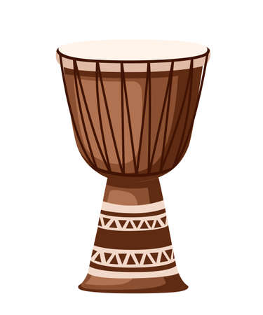 Traditional african music drum. Music instrument dunoon. Flat vector illustration isolated on white background.