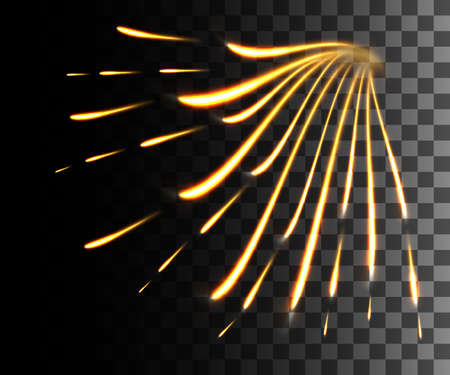 Glowing line abstract effect. Golden lines light effect on transparent background. Ilustração