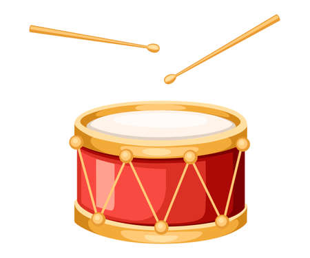 Red drum and wooden drum sticks. Musical instrument, drum machine. Flat vector illustration isolated on white background. Illustration