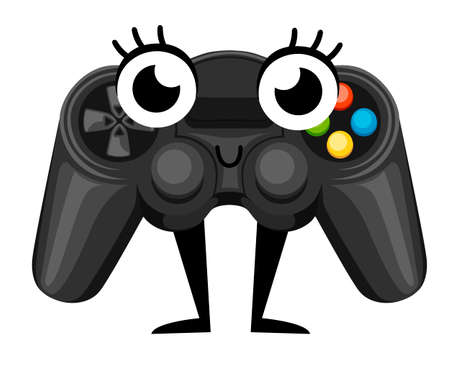 Wireless game pad mascot. Cartoon character design. Black video game controller. Gamepad for PC or Console gaming. Flat vector illustration isolated on white background.
