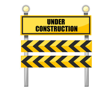 Under construction road sign. Yellow road sign with light bulb. Construction industry. Flat vector illustration isolated on white background. Illustration