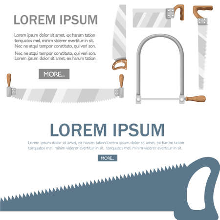 Saw with wooden handle. Crosscut hand saw with long steel blade. Tool for cutting wood. Flat vector illustration on white background. Woodwork concept with place for text. Web site and app design.