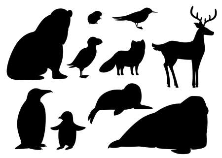 Black silhouette. Set of arctic animals icon. Birds and mammals. Arctic animal, cartoon flat design. Vector illustration isolated on white background.