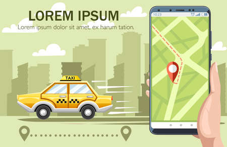 Yellow taxi car. Taxi service concept. Flat vector illustration with city on landscape. Hand holding smartphone with app, map on display, destination way. Green color background. Vettoriali