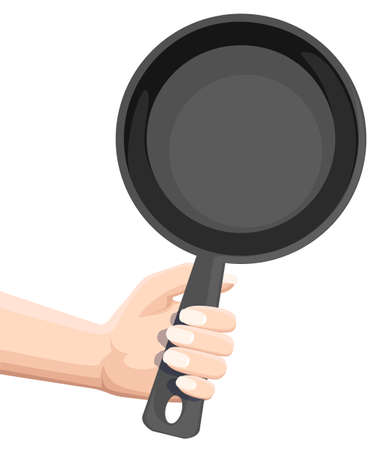 Hand holding empty black frying pan. Flat vector illustration isolated on white background.