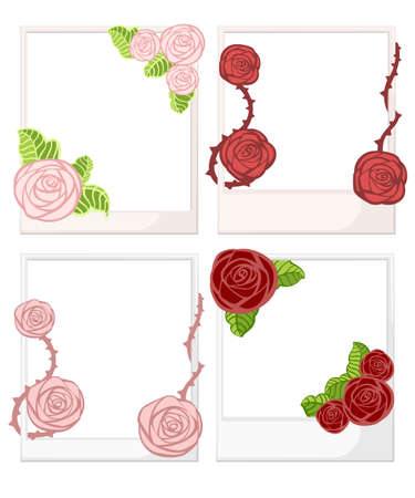 White photo frame with roses with leaves and thorns. Illustration