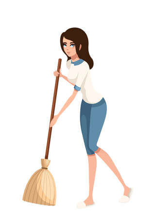 Cartoon character design. Women cleaning floor with broom. Flat vector illustration isolated on white background. Ilustração Vetorial