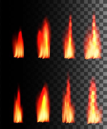 Red fire abstract effect on transparent background. Fire icon set. Glowing light effect. Vector illustration. Foto de archivo - 124588592