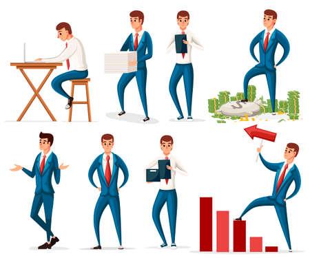 Businessman working character design set.