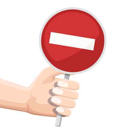 Red road sign - no or stop. Hand holding stop road sign. Cartoon character design. Flat vector illustration isolated on white background.