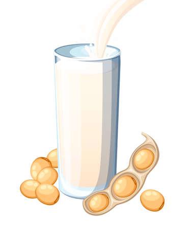 Latte di soia che versa nel bicchiere. Vettoriali