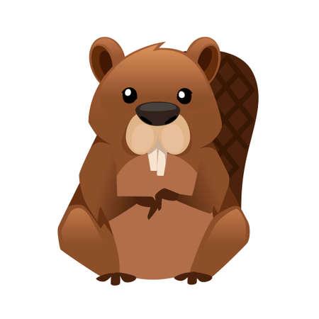 Castor marrón lindo. Diseño de animales de dibujos animados. Ilustración de vector plano aislado sobre fondo blanco. Habitante del bosque. Animal salvaje con rojo pardo.