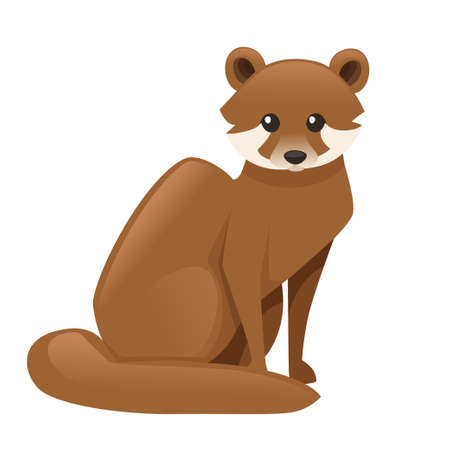 Cute Brown marten. Cartoon animal design. Flat vector illustration isolated on white background. Forest inhabitant. Wild animal with brown fur.