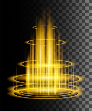 Round yellow glow rays night scene with sparks on transparent background. Empty light effect podium. Magic fantasy portal. Futuristic teleport. Vector effect illustration.