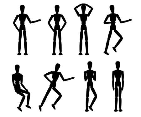 Black silhouette wooden mannequin collection.