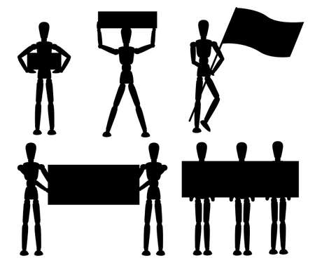 Black silhouette. Wooden mannequin collection. Dummy with different poses. Cartoon flat style. Vector illustration isolated on white background. Banque d'images - 118521946