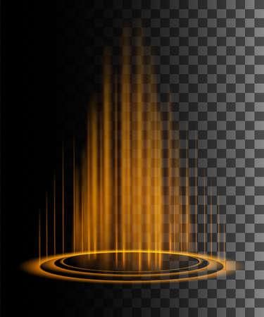 Round orange glow rays night scene with sparks on transparent background. Empty light effect podium. Magic fantasy portal. Futuristic teleport. Vector effect illustration. Ilustração