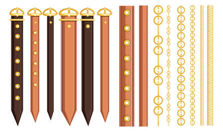 Set of belt leather and metal elements. Chain and braided design. Flat vector illustration on white background. Strap for belt or hand watches.