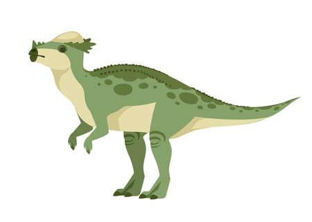Green Pachycephalosaurus  cute dinosaur, cartoon design.