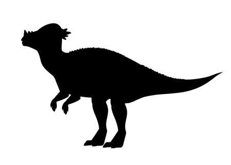 Pachycéphalosaure silhouette noire. Vecteurs