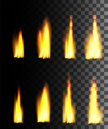 Yellow fire abstract effect on transparent background. Fire icon set. Glowing light effect. Vector illustration. Foto de archivo - 124588632