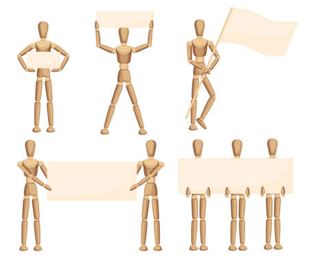 Wooden mannequin collection. Dummy with different poses. Cartoon flat style. Vector illustration isolated on white background. Banque d'images - 118532413