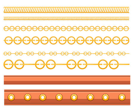 Set of belt leather and metal elements. Chain and braided design. Flat vector illustration on white background. Strap for belt or hand watches.  イラスト・ベクター素材