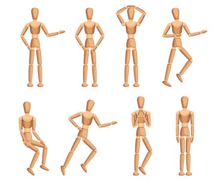 Collezione di manichini in legno. Manichino con diverse pose. Stile piatto cartone animato. Illustrazione vettoriale isolato su sfondo bianco.
