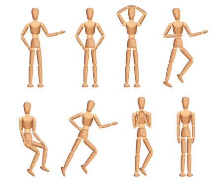 Wooden mannequin collection. Dummy with different poses. Cartoon flat style. Vector illustration isolated on white background. Stock Illustratie