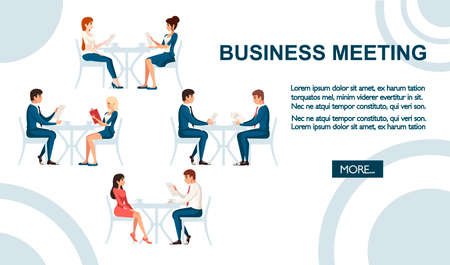 Business meeting concept. Man and women sit on wooden chair and talking. 向量圖像