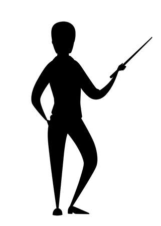 Black silhouette. Man in casual clothing stay and hold a pointer in hand. Illustration