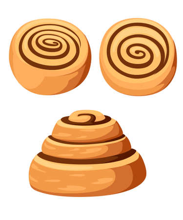 Bun with cinnamon. Freshly baked sweet cake. Baked pastry item. Flat vector illustration isolated on white background.
