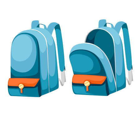 Colorful opened and closed school bags. Empty rucksack. Backpack with zippers. Cartoon design. Flat vector illustration isolated on white background. Stock Illustratie