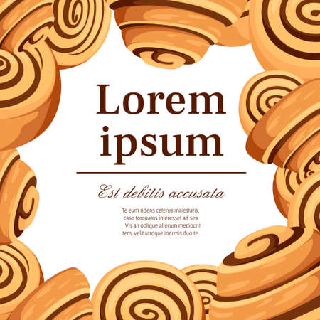 Bun with cinnamon. Freshly baked sweet cake. Baked pastry item. Flat vector illustration on white background. Place for text, pattern for greetings card or flyer design.