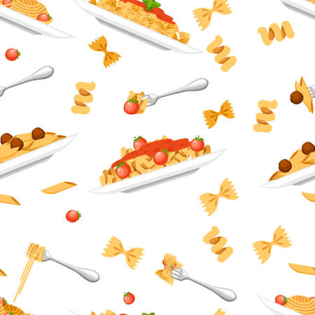 Seamless pattern. Collection of four type pasta dish. Pasta on white plate. Flat vector illustration on white background. Ready to eat food from restaurant or cafe.
