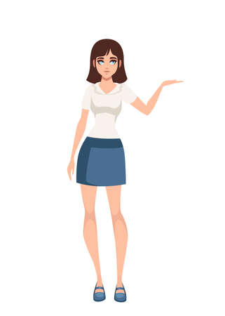 Women standing in casual clothes. Cartoon character design. Flat vector illustration isolated on white background.  イラスト・ベクター素材